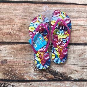Shoes - Lisa Frank kiss flip flops